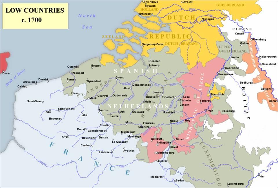 Les Pays-Bas en 1700 ; Guerre de Succession d'Espagne (Wikipedia version anglaise)