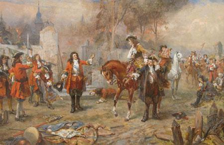 Le duc de Marlborough félicitant le Prince Eugène de Savoie après leur victoire de Blenheim