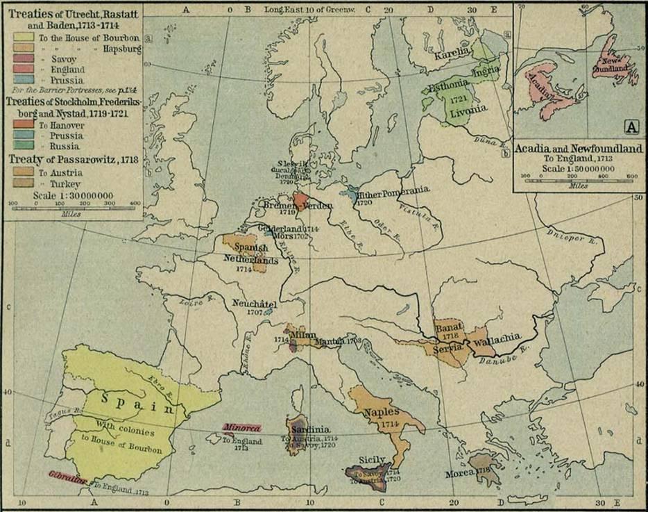 Les cessions territoriales à la suite des traités d'Utrecht, de Stockholm, de Nystad et de Passarowitz (source Wikipedia, Traité d'Utrecht