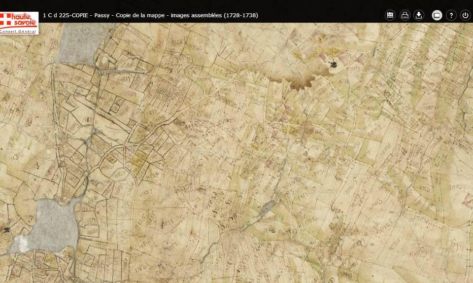 Mappe sarde de Passy, image 3/12, 30%, orientée est-ouest, détail Le Perrey et la Size