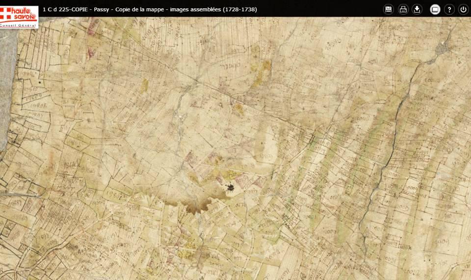 Mappe sarde de Passy, image 3/12, 30%, orientée est-ouest, détail : Le Perrey. A droite les vignes, représentées par des bandes vertes