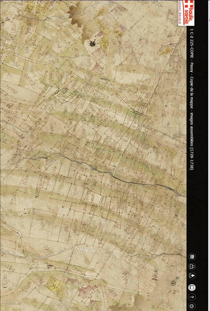 Mappe sarde de Passy, image 3/12, 40%, orientée nord-sud, détail : Vigne entre la Tour Dingy (en bas) et Le Perrey (en haut)