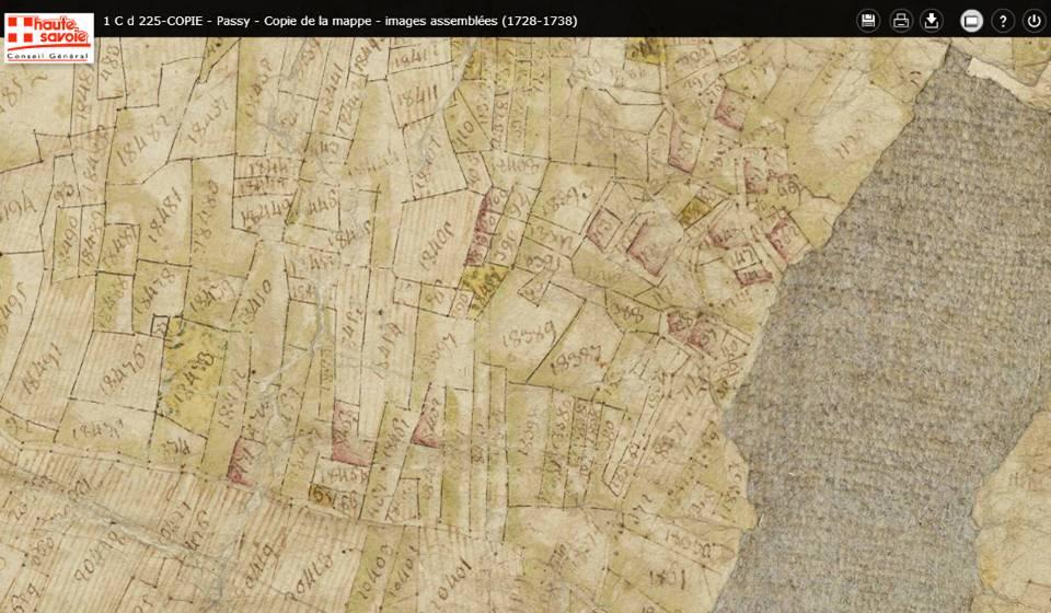 Mappe sarde de Passy, image 3/12, 50%, détail des environs de La Motte : sud de la partie est