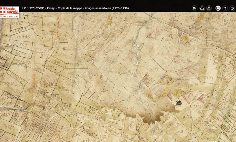 Mappe sarde de Passy, image 3/12, 50%, orientée est-ouest, détail : Le Perrey