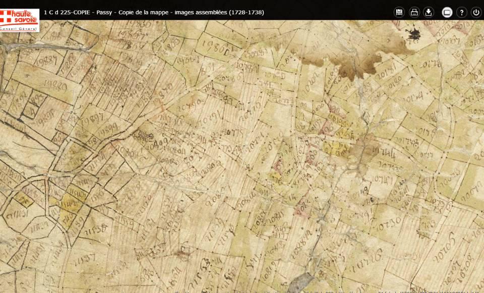 Mappe sarde de Passy, image 3/12, 50%, orientée est-ouest, détail : Le Perrey et la Size