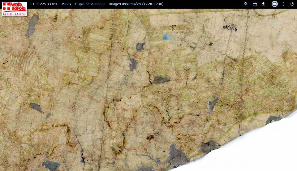 Mappe sarde de Passy, image 3/12, 5%, orientée est-ouest ; Le hameau du Perrey
