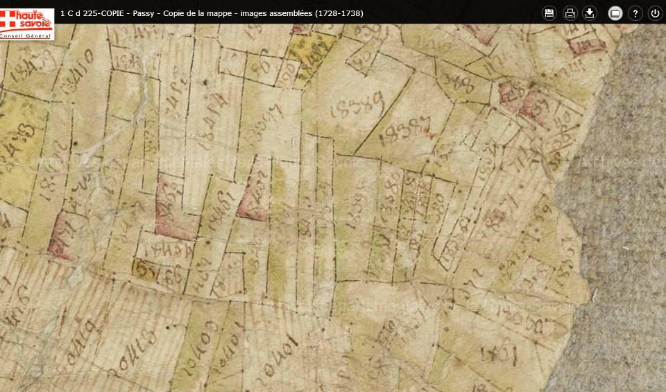 Mappe sarde de Passy, image 3/12, 80%, détail : La Motte, sud de la partie est