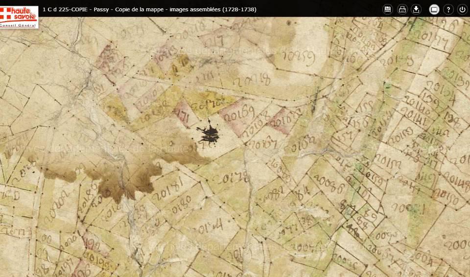 Mappe sarde de Passy, image 3/12, 80%, orientée est-ouest, détail : Le Perrey