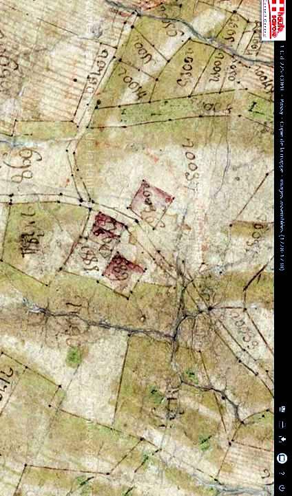 Mappe sarde de Passy, image 3/12, 80%, réorientée nord-sud, détail : partie sud du Perrey