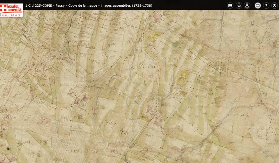 Mappe sarde de Passy, image 3/12, 30%, orientée est-ouest, détail : La tour Dingy, en haut au milieu) et le hameau de Saint-Antoine (en bas au milieu)