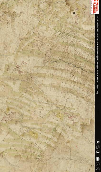Mappe sarde de Passy, image 3/12, 30%, réorientée nord-sud, détail : La tour Dingy, en bas à droite) et le hameau de Saint-Antoine (en bas à gauche)