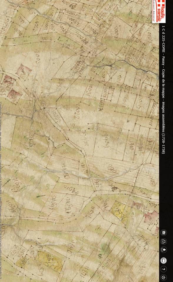 Mappe sarde de Passy, image 3/12, 50%, réorientée nord-sud. Détail des environs de Dingy (en bas à droite) et de la partie sud du Perrey et les Remondins (en haut à gauche)