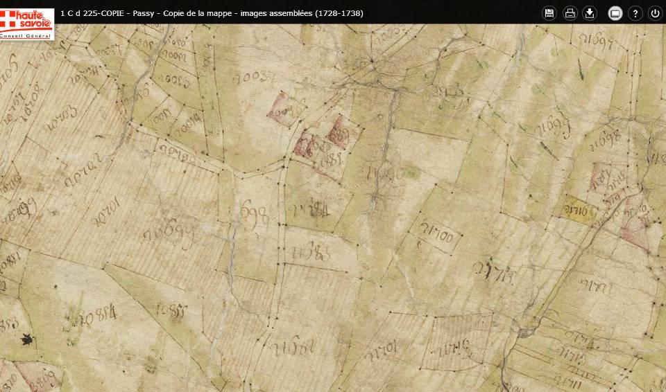 Mappe sarde de Passy, image 3/12, 50%, orientée est-ouest, détail : le hameau de Saint-Antoine