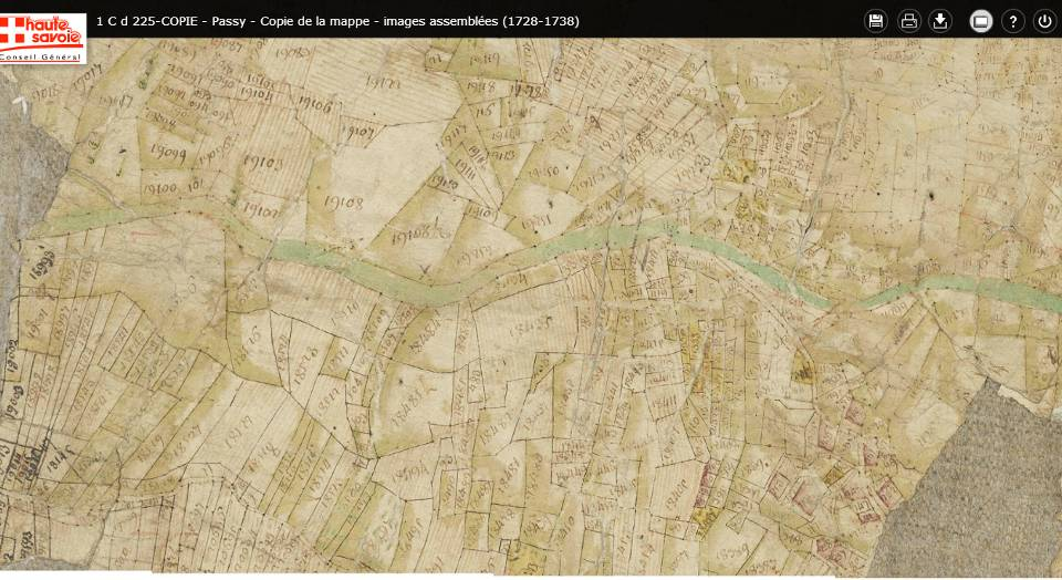 Mappe sarde de Passy, image 5/12, 30%, détail : Le hameau de La Motte