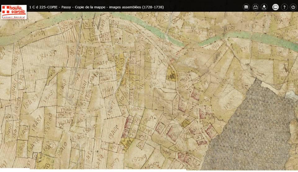 Mappe sarde de Passy, image 5/12, 50% (la mappe n'est pas orientée nord-sud, mais est-ouest). Détail des environs de La Motte