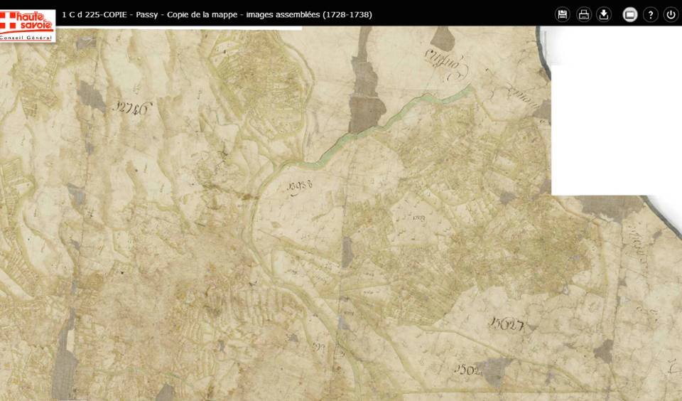 Mappe sarde de Passy, image 5/12, 5% ; Le hameau de La Motte en bas à gauche