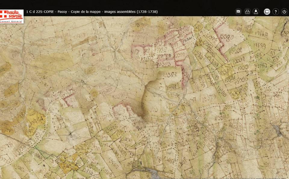 Mappe sarde de Passy, image 5/12, 50%, détail des environs de Joux