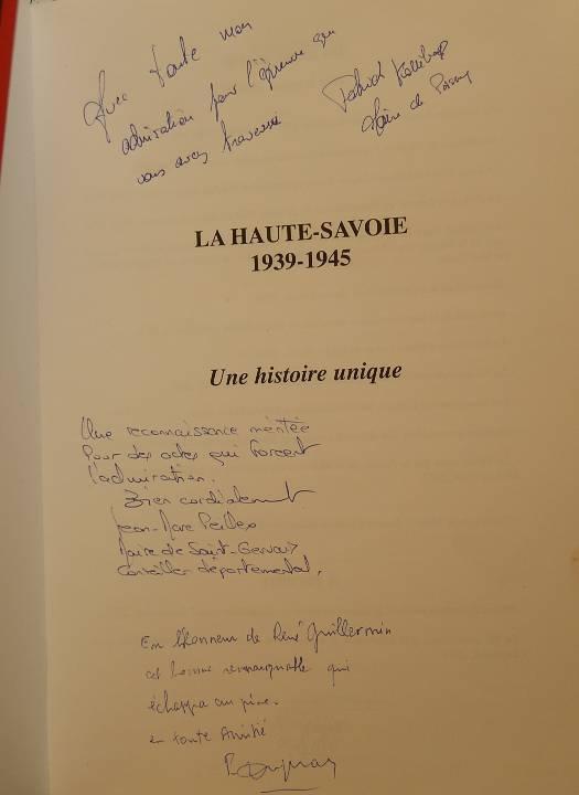 Les dédicaces portées sur le livre offert à René Guillemin (cliché Bernard Théry, 12 avril 2015)