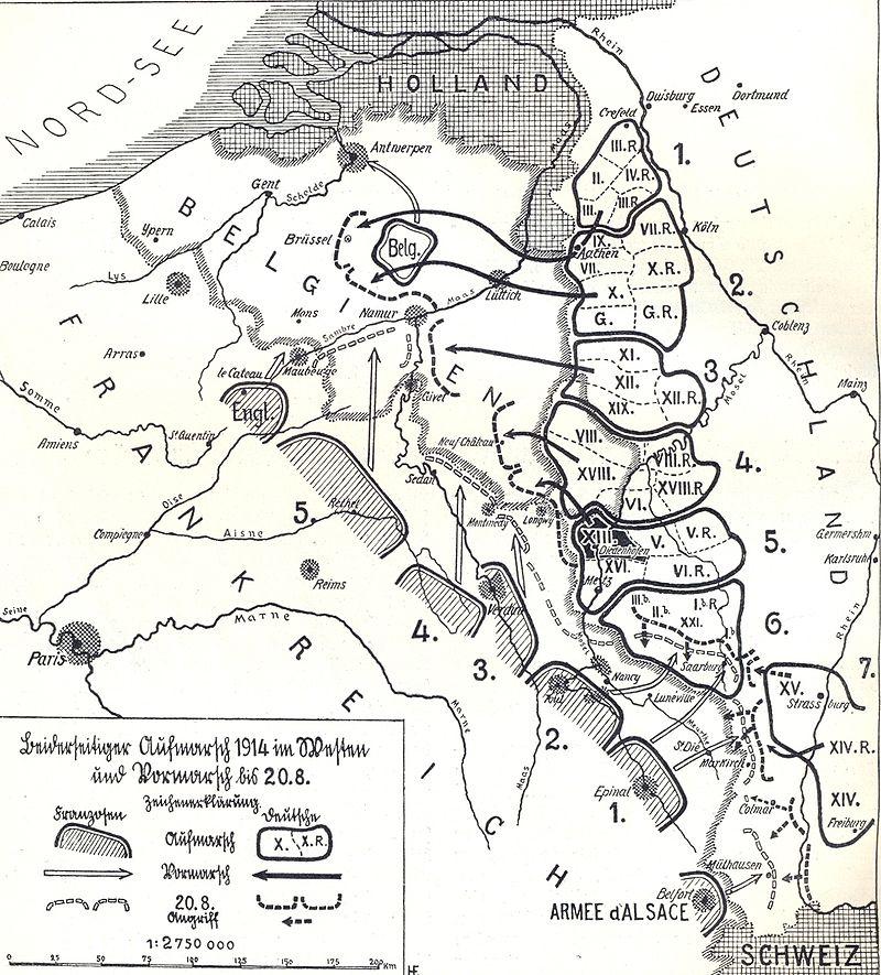 Zones de concentration des armées allemandes à partir du 6 août 1914 et leurs mouvements jusqu'au 20 : de bas en haut, la position des 5 armées françaises, de l'armée anglaise, et de l'armée belge