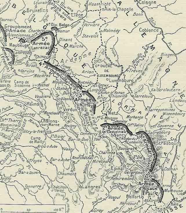 Position des armées françaises le 14 août, La grande guerre racontée par les combattants (site sambre-marne-yser)