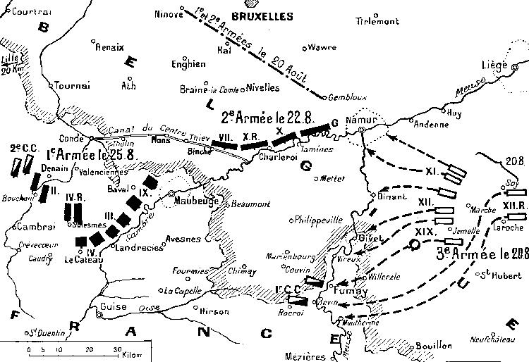 Bataille de Charleroi (au centre de la carte), 22 août 1914 (site 1914ancien)