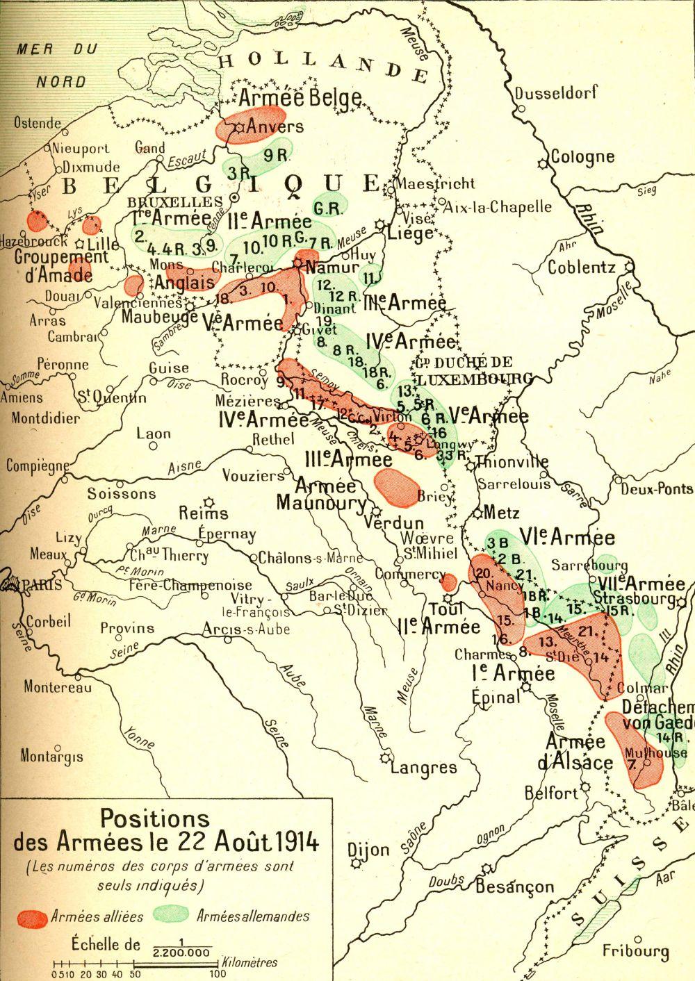 Ensemble du front ouest le 22 août 1914 : les différentes armées alliées et allemandes ; Charleroi, en haut à gauche, l'ouest de Namur (site 1914ancien)