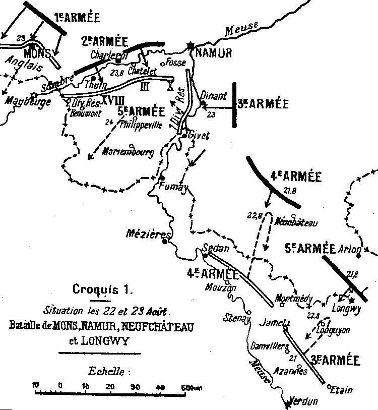 Carte de la bataille de Charleroi, 23 août 1914 ; Fosse à l'est de Charleroi (site 1914ancien)