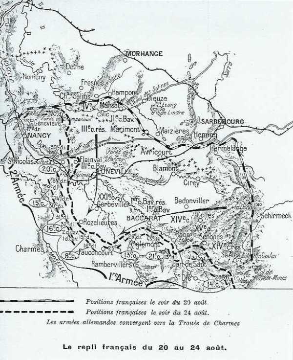 Positions françaises du 20 au 24 août 1914 ; St-Dié, en bas à droite de la carte