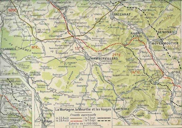 Carte des Vosges, 23 août-11 septembre 1914  (site artois1418)