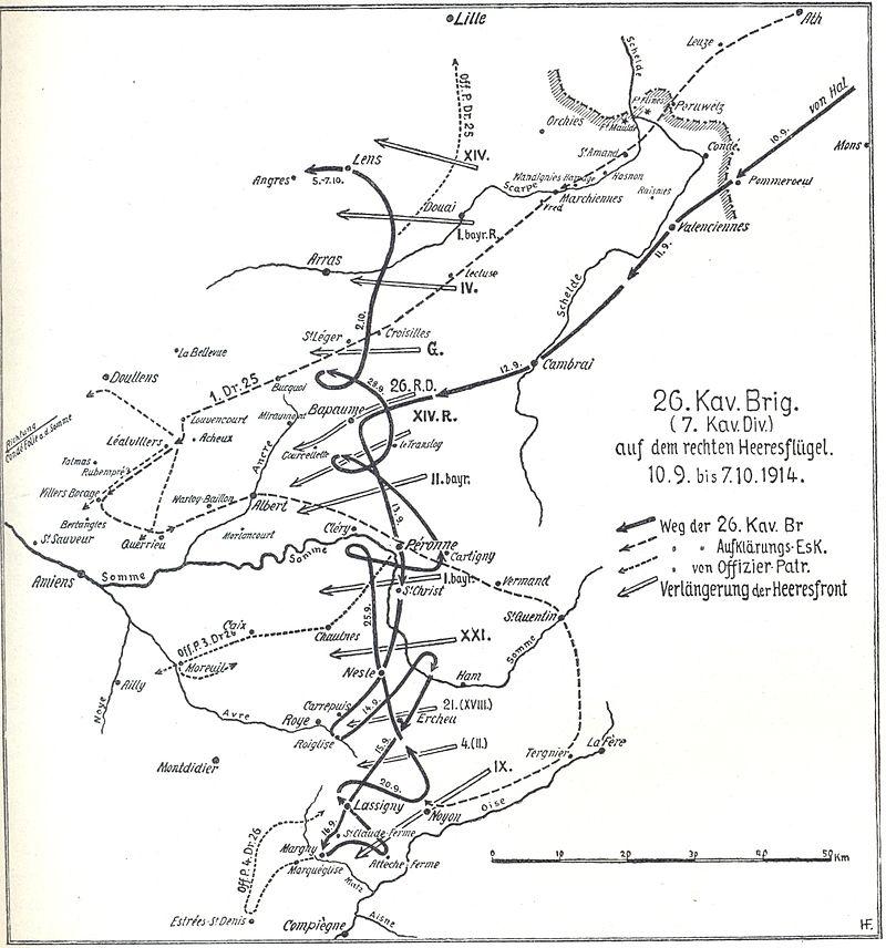 Carte allemande de la Somme en septembre 1914 : Chaulnes et Lihons au sud-est de Péronne (internet)