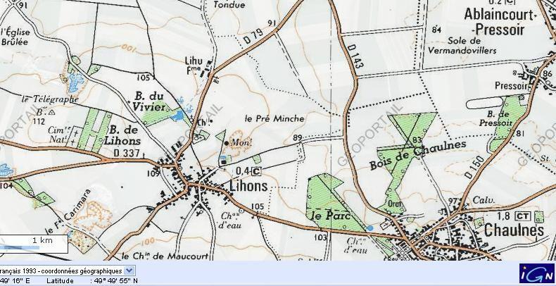 Carte de Lihons, Pressoir et Chaulnes
