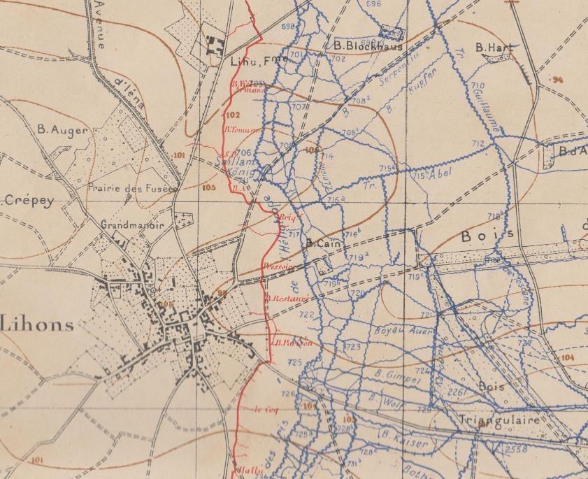 Carte d'état-major de 1916 : la briqueterie est au niveau de la première ligne française, au centre de la carte (site pages14-18)