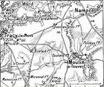 Carte situant Tracy-le-mont, Nampcel, Quennevières, Moulin-s-Touvent et le Bois St-Mard (en haut à gauche), à l'est de Compiègne  (site chtimiste)