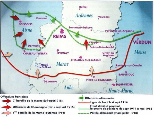 Carte de l'offensive de Champagne en 1915 : voir la flèche rouge au centre (Source blogs.ac-amiens)