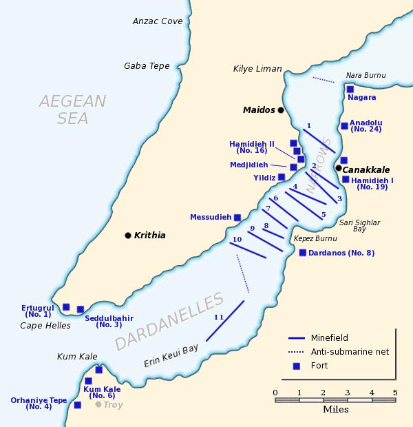 Les Dardanelles et la presqu'île de Gallipoli