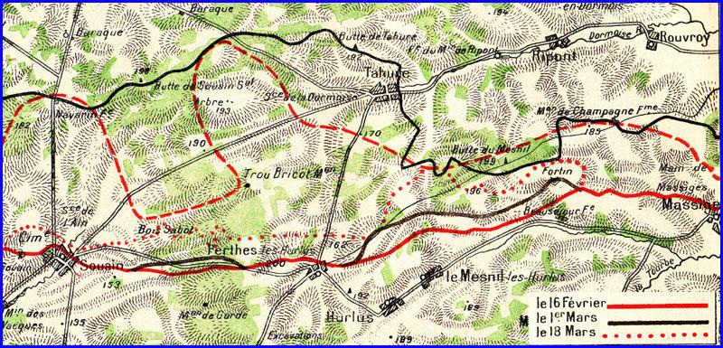 Carte des fronts successifs en Champagne en février-mars 1915 ; Perthes-les-Hurlus et Tahure au centre ; Souain, en bas à gauche (Source site lemilitarial)