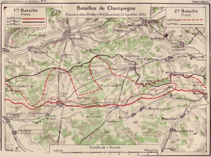 Batailles de Champagne : mars et septembre 1915 (Source site patrimoine51)