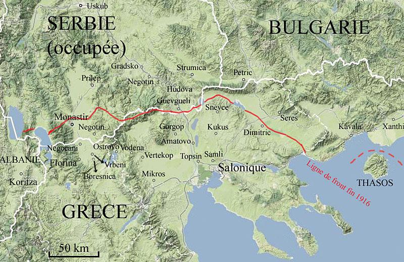 Carte de la Grèce, de la Bulgarie et de la Serbie en 1915-1916. Koritza en bas à gauche.