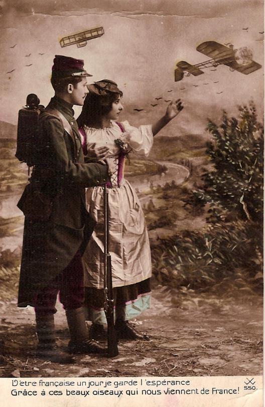 Carte envoyée à Passy le 12 avril 1915 : l'Alsace. L'uniforme date du début de la guerre (doc. Famille Devillaz)