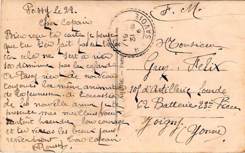 Texte de la carte de « Bonne année » 29 décembre 1916 envoyée par son copain Roussi au soldat Félix Gruz (doc. Famille Devillaz)
