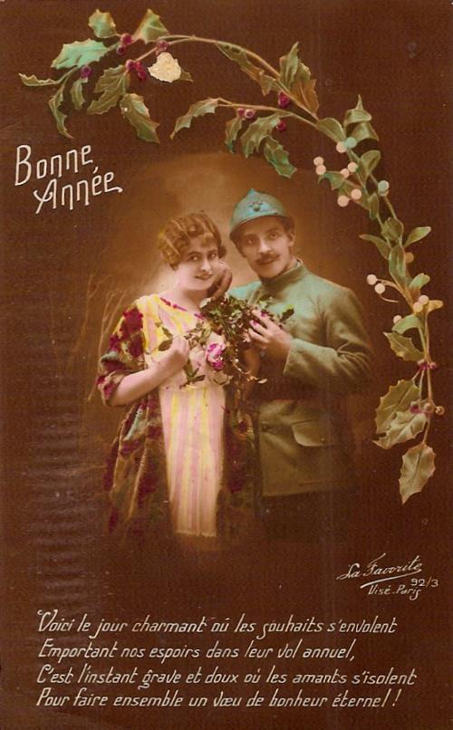 Carte de « Bonne année » 29 décembre 1916 envoyée par son copain Roussi au soldat Félix Gruz 105e Rgt d'artillerie lourde 62e batterie 23e pièce Joigny, Yonne (doc. Famille Devillaz)