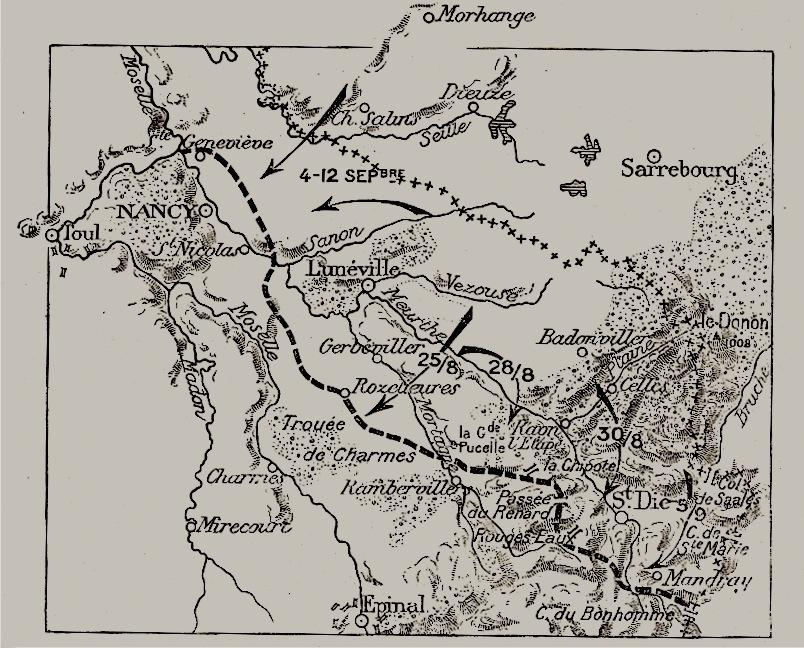 La Trouée de Charmes, entre Nancy et St-Dié. Morhange, Dieuze et Sarrebourg en haut de la carte. Carte des combats du 27 août 1914 autour de Saint-Dié et du col du Bonhomme (en bas à droite). Carte publiée dans le guide Michelin de 1920.