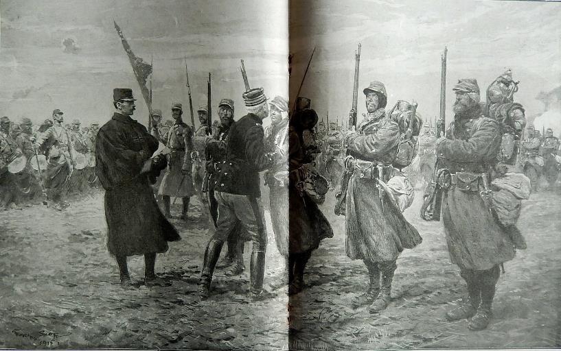 Remise de décorations sur la ligne de feu : l'accolade du général aux médaillés militaires (Journal L'Illustration du 6 février 1915)