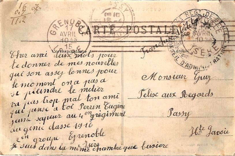 Texte de la carte « Grenoble, Caserne du Génie » (Doc. famille Devillaz)
