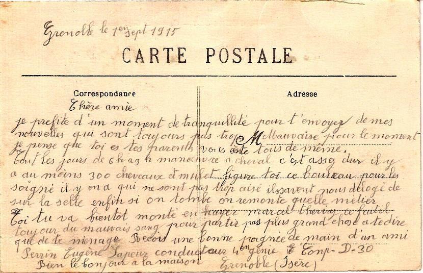 Texte de la carte postale de Grenoble Caserne du Génie monté et le Rachais (1070m), (doc. Famille Devillaz)