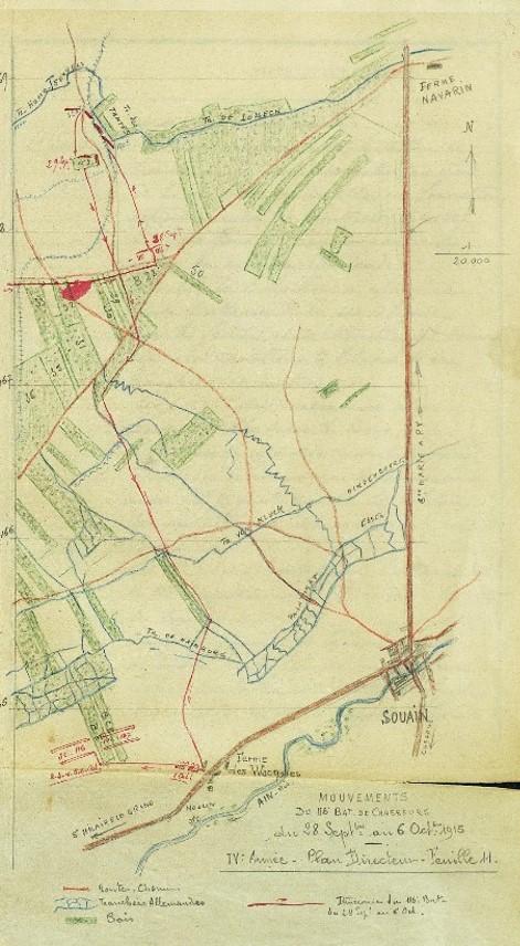 Carte des mouvements du 116e btn de chasseurs du 28 septembre au 6 octobre 1915 : en haut à gauche la « Tranchée des Homo-Sexuels » et la « Tranchée des Tantes » (JMO, page 24)