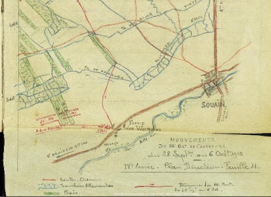 Bas de la carte des mouvements du 116e btn de chasseurs du 28 septembre au 6 octobre 1915 : la Ferme des Wacques (JMO, page 24)