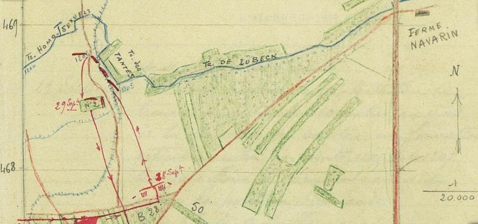 Haut de la carte des mouvements du 116e btn de chasseurs du 28 septembre au 6 octobre 1915 : en haut à gauche la « Tranchée des Homo-Sexuels » et la « Tranchée des Tantes » (JMO, page 24)