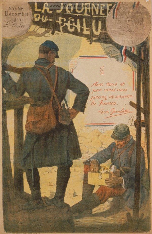 Affiche « Journée du poilu, 25 et 26 décembre 1915 organisée par le Parlement » (site propaganda)