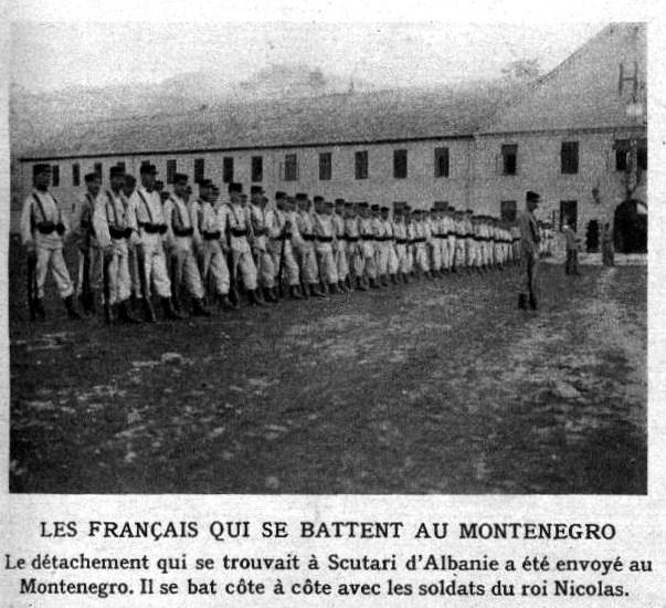 Les Français qui se battent au Monténégro (Wikipedia, photographie dans Le Miroir) Le Miroir.)
